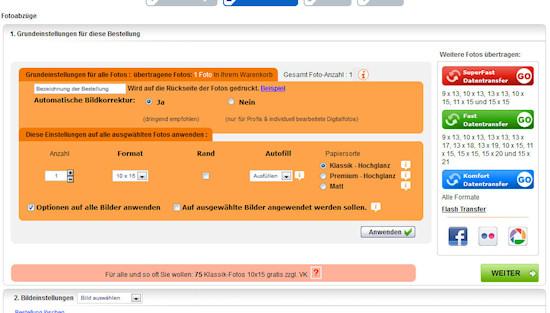 Einstellungen für die Fotos vornehmen bei foto.com
