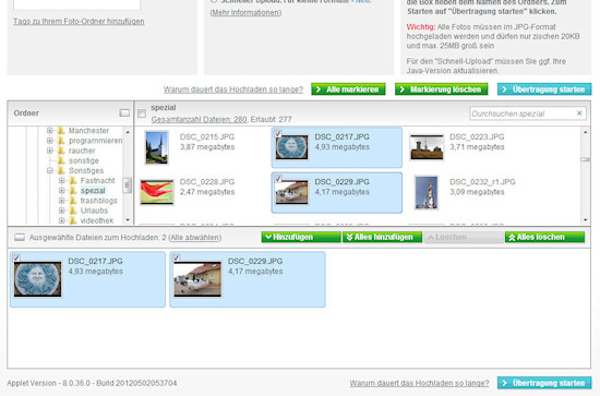 Auswählen und Hochladen der Fotos bei Photobox
